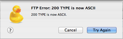 CyberDuck Error: FTP Error: 200 TYPE is now ASCII